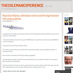 Royal Sun Alliance, child abuse victims and the legal decision that shames Britain