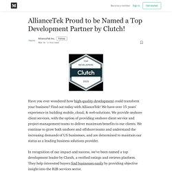 AllianceTek Proud to be Named a Top Development Partner by Clutch!