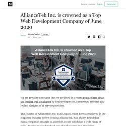 AllianceTek Inc. is crowned as a Top Web Development Company of June 2020