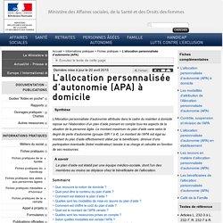 L'allocation personnalisée d'autonomie (APA) à domicile