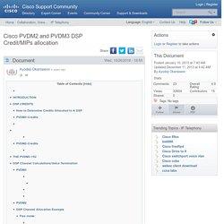 Cisco PVDM2 and PVDM3 DSP Credit/MIPs allocation