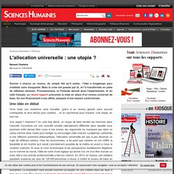 L'allocation universelle : une utopie ?