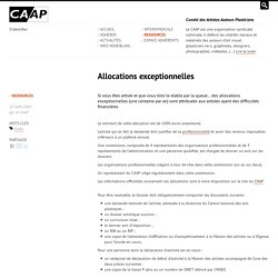 Allocations exceptionnelles - CAAP