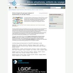 élèves allophones, enfants du voyage - fiches-langues du groupeLangues et Grammaires en (Ile de) France
