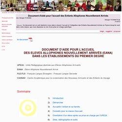 Document d'aide pour l'accueil des Enfants Allophones Nouvellement Arrivés -