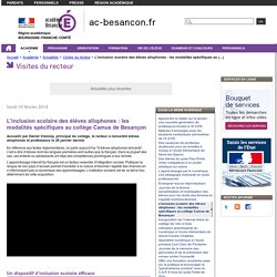L'inclusion scolaire des élèves allophones : les modalités spécifiques au collège Camus de Besançon