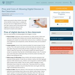 Pros and Cons of Allowing Digital Devices in the Classroom