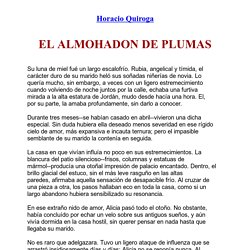 El almohadon de plumas de Horacio Quiroga (texto completo)