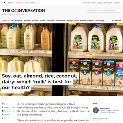 Soy, Oat, Almond, Rice, Coconut, Dairy: Which 'Milk' Is Best for Our Health?