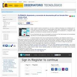 FLIPSNACK: Alojamiento y conversión de documentos pdf con formato libro-revista virtual