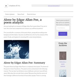 Alone - Edgar Allan Poe - analysis of the poem
