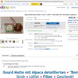 Alpaca Matte Gourd Mate Stroh Löffel Yerba Mate TEA Handmade Argentina