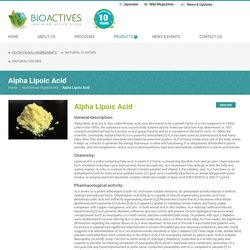 Alpha Lipoic Acid Foods & Benefits