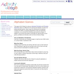 Ideas for Alphabet Games and Number Games for Kids