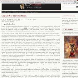 L'alphabet de Ben Sira et Lilith « Magie & Kabbale « Kabbale