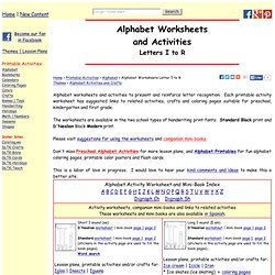 Alphabet Worksheets and Activities