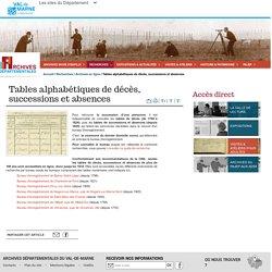 Archives du Val de Marne - Tables alphabétiques de décès, successions et absences