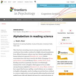 Alphabetism in reading science