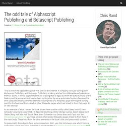 The odd tale of Alphascript Publishing and Betascript Publishing