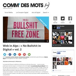 "Web in Alps : ""No Bullshit in Digital"" vol. 2 - Comm' des Mots"
