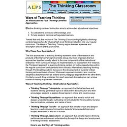 The Thinking Classroom: Ways of Thinking