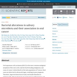 Bacterial alterations in salivary microbiota and their association in oral cancer