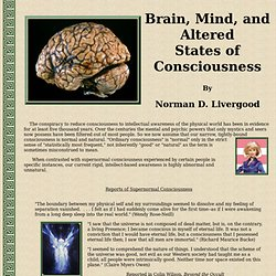 Brain, Mind, and Altered States of Consciousness