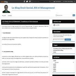 LE STAGE EN ALTERNANCE, Conditions et Déroulement - Le Blog Droit Social, RH et Management