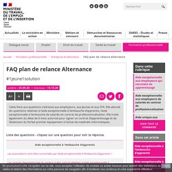 FAQ plan de relance Alternance - Ministère du Travail, de l'Emploi et de l'Insertion