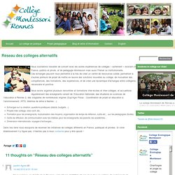 Collège International Ecologique Montessori » Réseau des collèges alternatifs