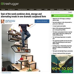 Stair of the week combines desk, storage and alternating treads in one dramatic sculptural form