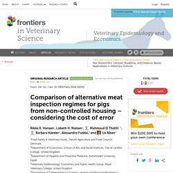 FRONTIERS IN VETERINARY SCIENCE 13/04/18 Comparison of alternative meat inspection regimes for pigs from non-controlled housing – considering the cost of error Original Research Denmark has not had cases of bovine tuberculosis (bovTB) for more than 30 ye