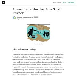 Alternative Lending For Your Small Business