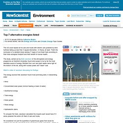 Top 7 alternative energies listed - environment - 14 January 2009