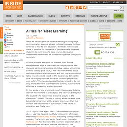 Essay calls for alternative to massive online learning