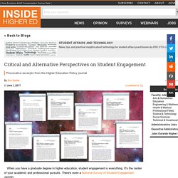 Critical and Alternative Perspectives on Student Engagement