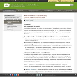 NIH_GOV 07/10/14 Alternatives to Animal Testing - Questions and Answers about ICCVAM