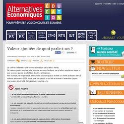 Alternatives Economiques Education - Valeur ajoutée: de quoi parle-t-on ?