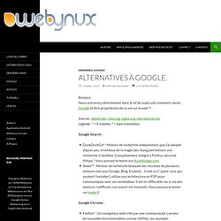 Alternatives à Google. dans Geekeries