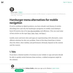 Hamburger menu alternatives for mobile navigation – Medium