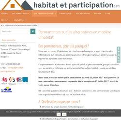 Permanences sur les alternatives en matière d'habitat – Habitat et Participation