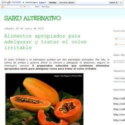 SAIKU ALTERNATIVO: Alimentos apropiados para adelgazar y tratar el colon irritable