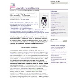 Altersexualité / Orthosexie