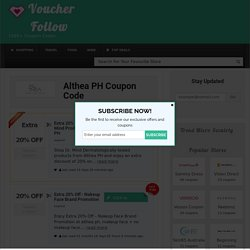 Althea PH Coupon Code, Discount, Promo Code 2017
