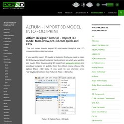 Altium – Import 3D model into footprint