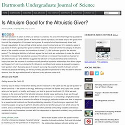 DUJS Online » Is Altruism Good for the Altruistic Giver?