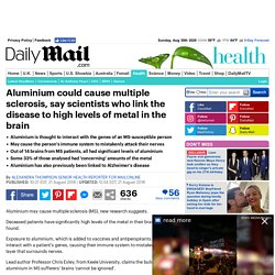 Aluminium may cause MS: Patients have levels in their brains that 'cannot be ignored'