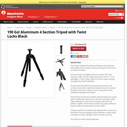 190 Go! Aluminum 4 Section Tripod With Twist Locks Black MT190GOA4TB - 190 New Series