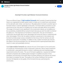 Alumlight Provides Light Modular Formwork Solutions