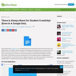 There is Always Room for Student Creativity! (Even in A Google Doc)